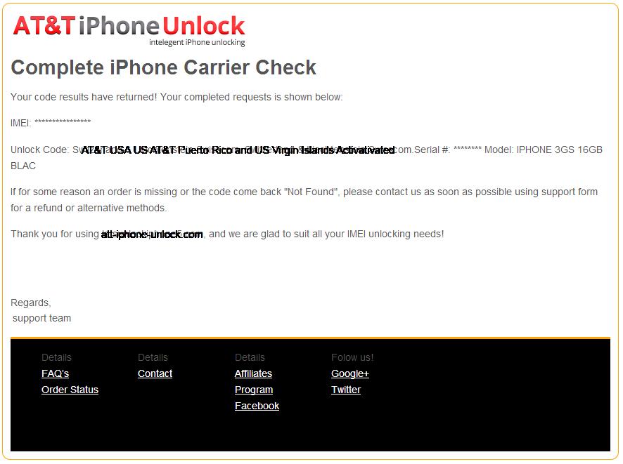 ATT Unlock order complete