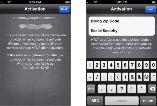 activate iPhone zip code ssn