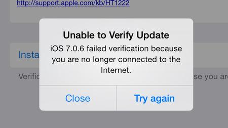 failed verification because you are no longer connected to the Internet