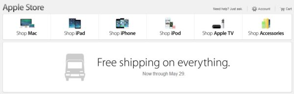 U.S. Apple Customers Get Free Shipping Until May 29