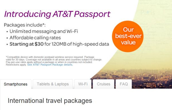 at&t passport international plan