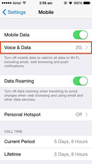 turn off lte iphone ios 8