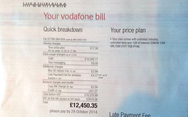 Crazy Vodafone UK iPhone Bill