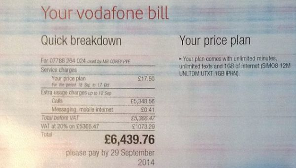 Huge Vodafone iPhone Bill