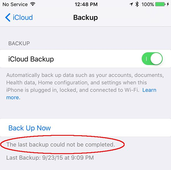 How to Fix Error the Last Backup Could Not Be Completed on iOS 9
