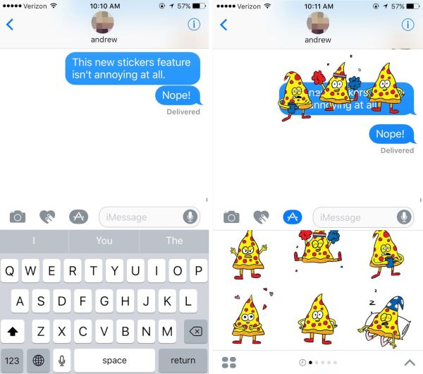 iPhone iMessage sticker pack iOS 10