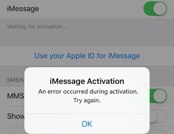 Fix iMessage Activation Error That Occurred During Activation on iOS 10