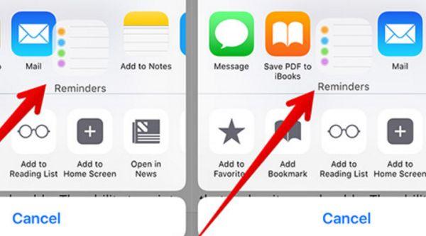 Customize Share Sheet on iPhone 7