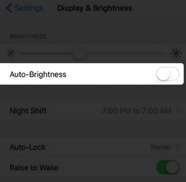 Fix Dim Screen on iPhone: turn off auto brightness