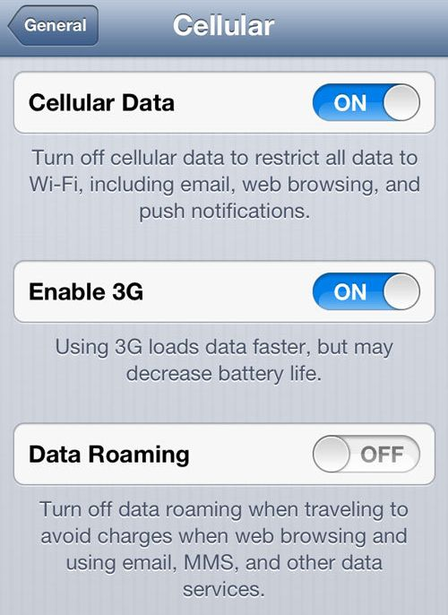 Enable 3G Data Roaming on iPhone How to