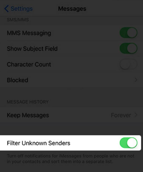 iPHone Filter Text Senders iOS 10