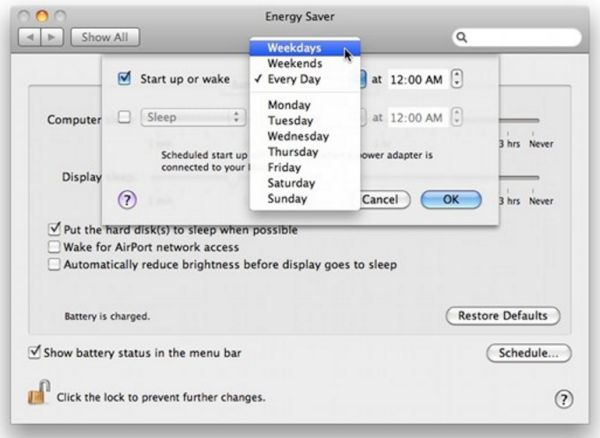 How to Schedule Mac Auto Wake Option