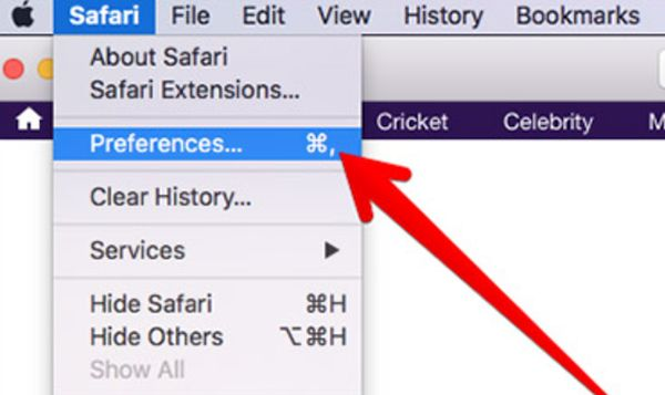 Mac - Safari - Preferences menu