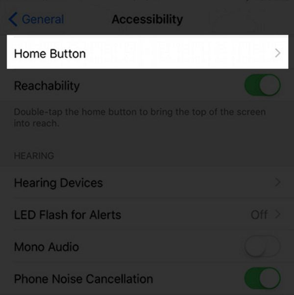 Home Button iPhone 7 Settings