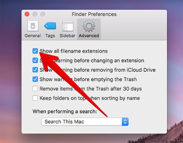 Hide Filename Extensions on OS Sierra