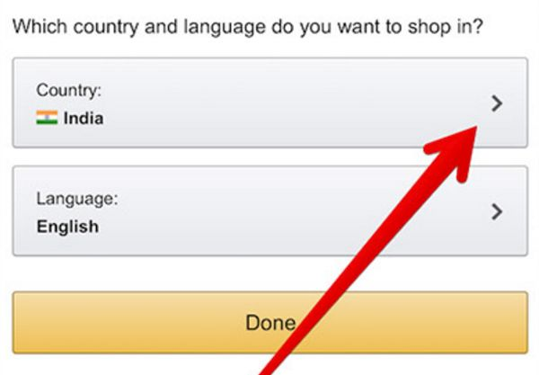 Change country on iPhone Amazon app