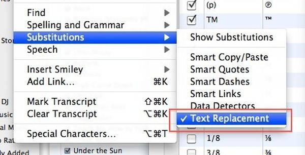 Text Replacement Mac OS X Enable in Apps