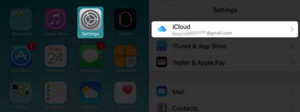 iPhone iCloud Settings menu