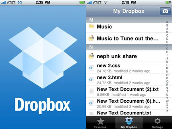 iPhone Dropbox File Storage Management