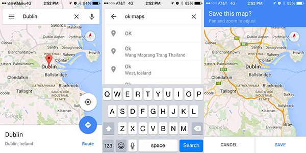 iPhone Google Maps Save Offline Guide