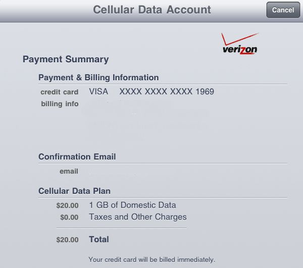 iPhone Verizon Cellular Data Info